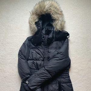 JUICY COUTURE Black Knee Length Puffer Coat